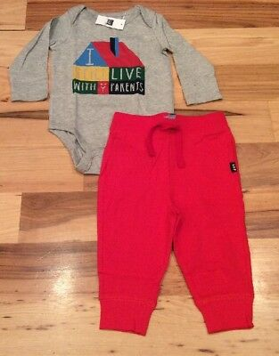 Baby Gap Boys 12-18 Month Outfit. I Live With Parents Shirt & Red Pants. Nwt