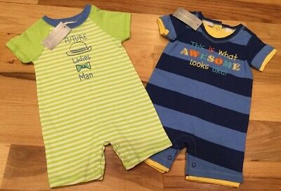 First Impressions Boys 3-6 Months Set Of 2 Rompers. Green & Blue Rompers. Nwt