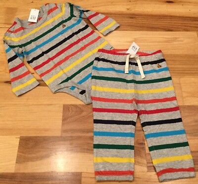 Baby Gap Boys 0-3 Months Outfit. Gray & Bright Stripes Shirt & Pants Outfit. Nwt