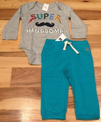 Baby Gap Boys 6-12 Months Outfit. Handsome Mustache Shirt & Teal Pants. Nwt