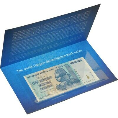 Zimbabwe 100 Trillion Dollars 2008 Banknote AA+ UNC with History Cover P-91