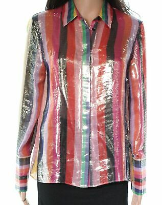 19a6a536077 Alice + Olivia NEW Pink Women s Small S Stripe Button Down Shirt Silk  279   287