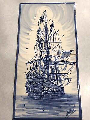 Vintage Azupal Pombal Portugal Hand Painted Blue & White 2 Piece Tile Tall Ship