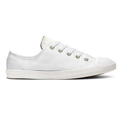 dcb1bf247fa7f Converse Baskets Femme Mandrin Dainty Bas Ox Chaussures Été Palms or Blanc