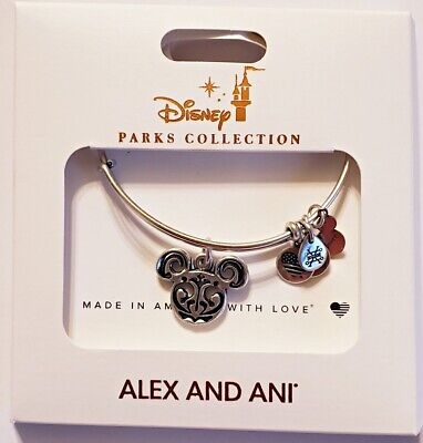 Disney Parks ALEX & ANI bracelet MICKEY EARS Filigree Scroll - silver tone - NEW