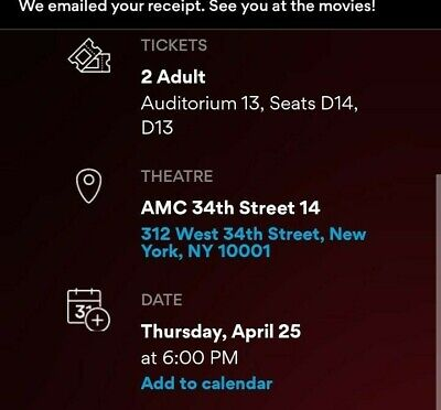 2 tickets Avengers ENDGAME MOVIE April 25 - 6:00pm IMAX 3D 34th  New York, NY