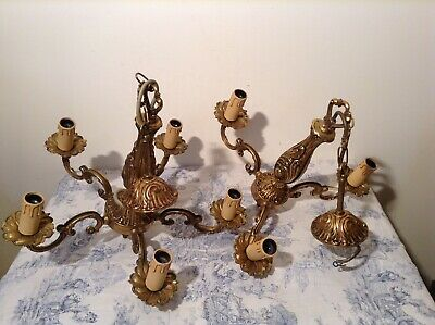 Pair Vintage French 5 Arm & 3 Arm Bronze Chandelier Ceiling Lights (2495)