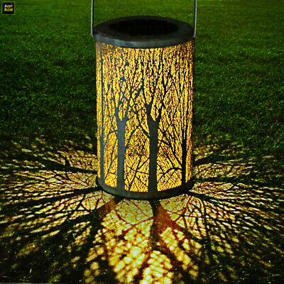 Large Ornate Damasque Style Metal Silhouette Solar LED Lantern Outdoor Patio