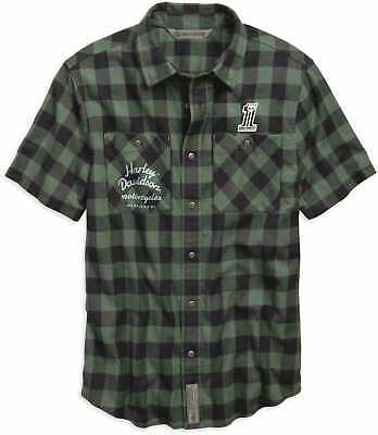 Harley Davidson Men's Patch Plaid Shirt, Green, Slim Fit , 96636-19VM, Medium