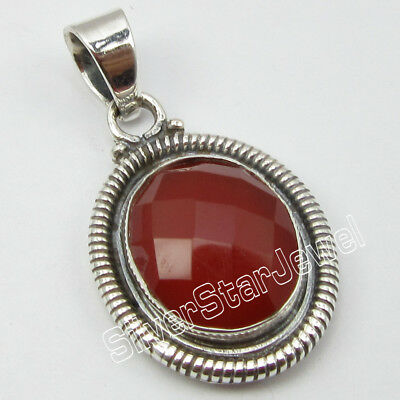 "925 Pure Sterling Silver Original CARNELIAN Pendant 1.3"" ! Factory Direct"