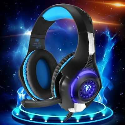 Gaming Headset für PS4 PC Xbox One LED mit Mikrofon für Laptop Mac Handy Tablet