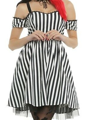 Gothic Steampunk Striped Cold Shoulder Party Dress Burlesque Cosplay Md