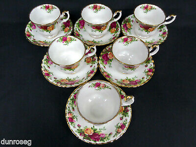 6 Old Country Roses Tea Cups & Saucers, 1973-2002, Made In England, Royal Albert