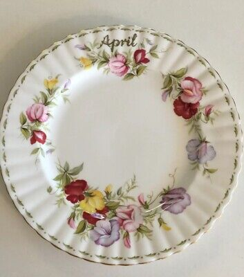 Royal Albert Flower of the Month Plate April Sweet Pea Bone China