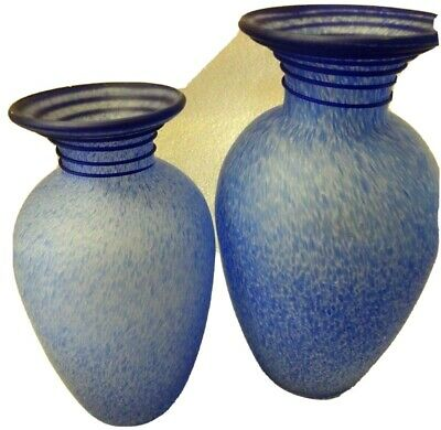 """Pair Of Blue Speckled Art Glass Vases-9.5"""" & 12""""-Displayed Only-Narrow Neck"""