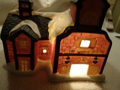 Vintage Bisque Lighted House-Fire Company No 5-Christmas Village-New Bulb/Cord