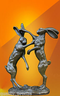 Superb Pair Of Boxing Hares  Bronze Statue Animal Sculpture Hot Cast Figure
