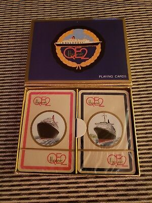 VINTAGE BOXED HARRODS QE2 CRUISE SHIP PLAYING CARDS - Sealed