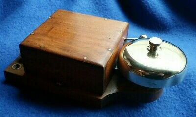 Antique Vintage Original Electric Door Railway Butler Alarm Bell Wood Brass