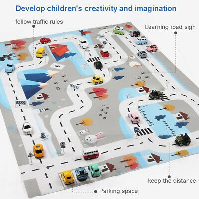 Nordic Road Map Portable Kids Play Mat Educational Toy With 18PC Road Sign NEW