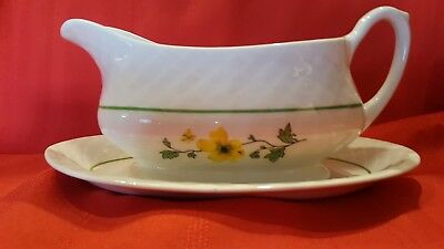 Enoch Wedgwood Tunstall England Jacqueline Gravy Boat and Underplate