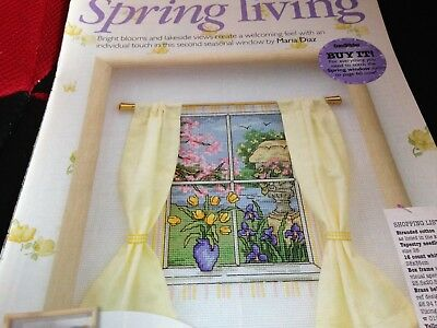 Cross Stitch Chart Spring Window Scene Chart Only & Butterfly Alphabet Charts