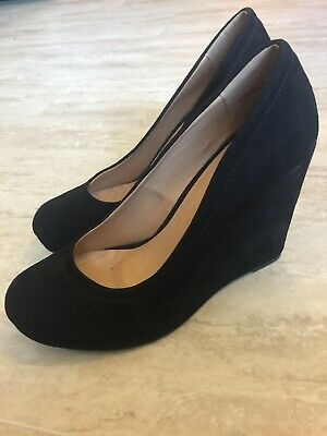 ca14179e53f CHINESE LAUNDRY Z Lifeline Black Wedge Heels Size 7.5 Suede Leather ...