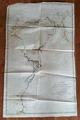 1821 Map Of The Northern Land Expedition Captain Franklin Antique Reference