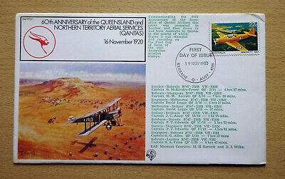 60th Anniversary of Qantas, Multi Franked First Day Flight Cover FDC.