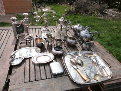 Lovely Collection Of Assorted Antique Vintage Silver Plate Items. 33 Items.