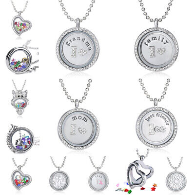 Fashion Family Living Memory Floating Locket Charms Pendant Necklace Lover Gift