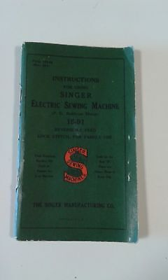SINGER 1940 libretto istruzioni ELECTRIC SEWING MACHINE PC Built-on motor 15-91