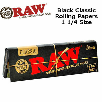 Raw Classic Natural Unrefined Rolling Papers Black 11/4 Size 50 Leaves per pack