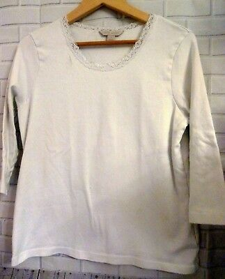 Laura Ashley White Lace Stretchy Cotton 3/4 Sleeved Top