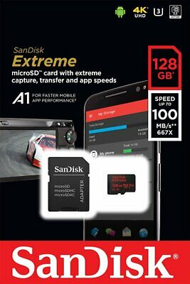 SanDisk Extreme microSDXC 128 GB Class 10 UHS-I U3 A1 100 MB/s mit SD-Adapter WH