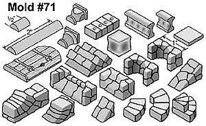 Hirst Arts #71 Fieldstone Accessories Fantasy Miniatures Scenery Mold HIR071