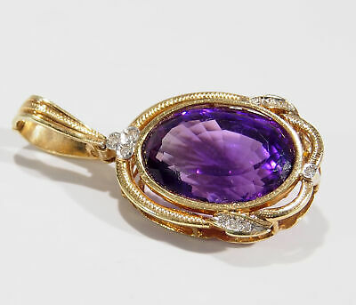 14K Diamond Amethyst Pendant Oval Yellow Gold 15ct