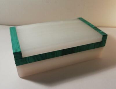 An Art Deco 'Asprey' Silver, Onyx & Malachite Box : London 1939