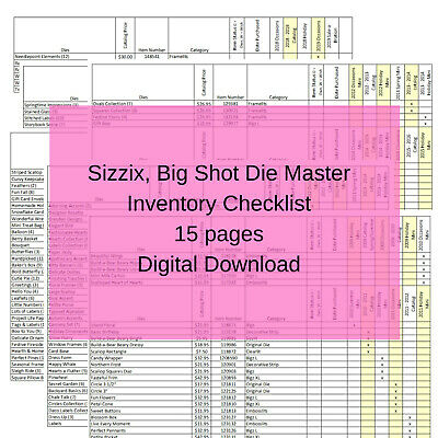 13 pg. Stampin Up Tool Master Inventory List Big Shot, Sizzix Tracking