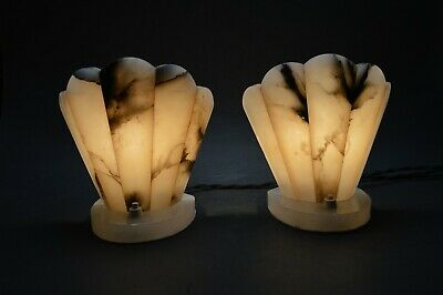 Beautiful Pair of Antique French ART DECO 1920's  Alabaster Lamps