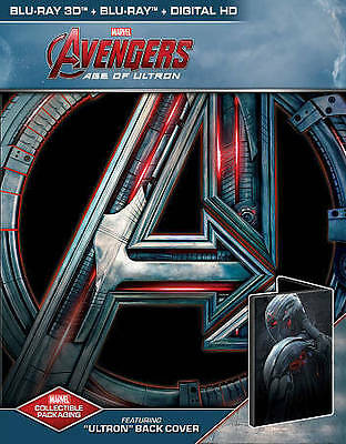 Blu-Ray Steelbook Avengers 2 Age Of Ultron +3D Dvd Exclusive Vision Back Uv New