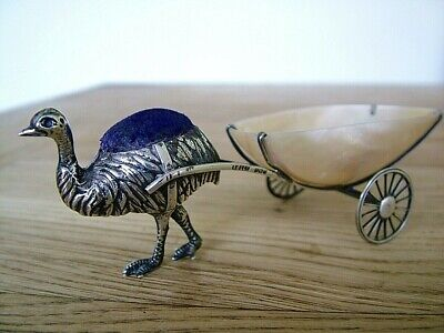 Very Rare Hm1912 Adie & Lovekin Solid Silver Novelty Pin Cushion Emu & Cart