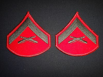 Pair Of US Marines Dress Uniform Patches: LANCE CORPORAL Rank Chevrons (For Men)