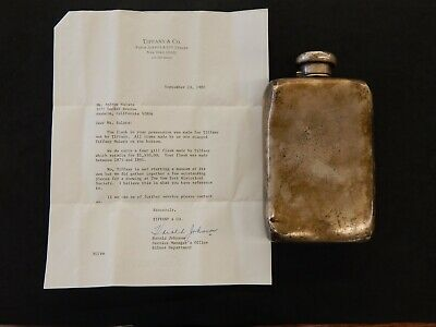 Vintage Tiffany & Co. Sterling Silver Flask - 4 GILLS (16 oz) Toned Dents 318.9g