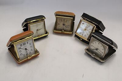 Collection of 5 Vintage Travel ALARM CLOCKS Various Brands  - C15