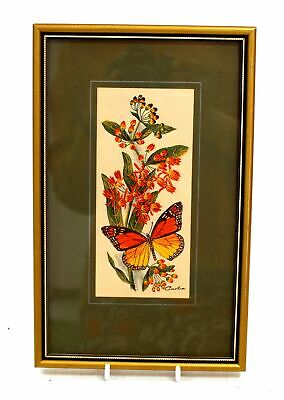 CASH 'Monarch Butterfly' WOVEN EMBROIDERED Artwork / Framed - N10