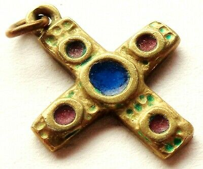 Very Beautiful Ancient Cross Pendant Set With Colored Enamel Paint