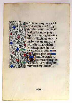 Medieval Illuminated Manuscript Book Of Hours Leaf In French ! Gold Initials