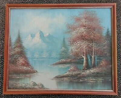 Unique W Jones Beautiful Framed Mountain/wilderness Scene Oil On Canvas Painting