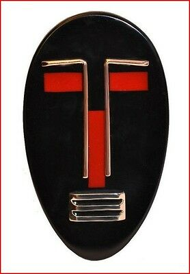 Art Deco Shape Fab Resin And Chrome Mask Pin - Black And Red Book Piece
